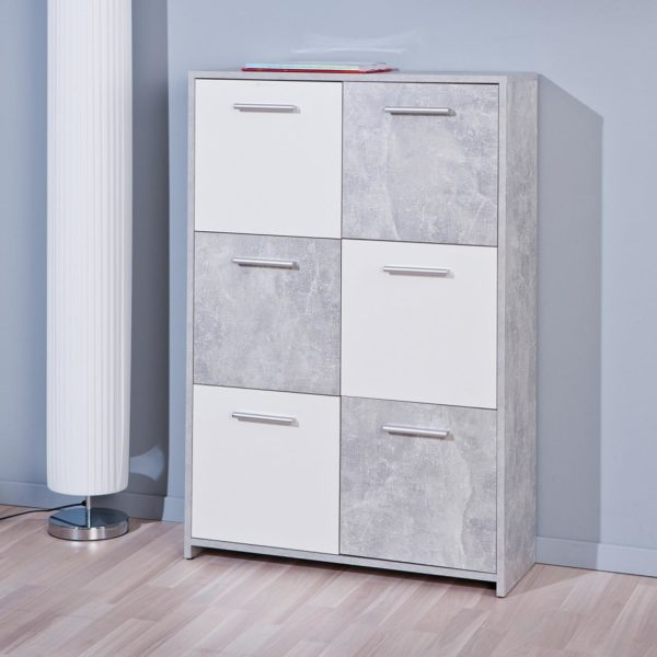 Kommode Highboard Malinus in Beton-Optik/weiss 6 Türen