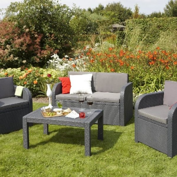 Lounge Set MISSY in Rattan Optik anthrazit / grau